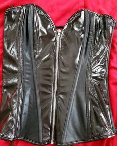 Frederick's of Hollywood Black Leather Corset
